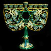 1049- Menorah, jeweled, 6""
