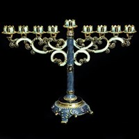 1060- Menorah, jeweled, 8""