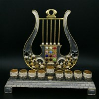 1066-B- Menorah, jeweled, 8""