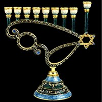 1073- Menorah, jeweled, 7""