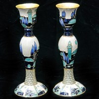"1140- Candlesticks, 6"" PAIR, ""Jerusalem"""