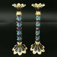 1158- Candlesticks, jeweled, PAIR  4.5""