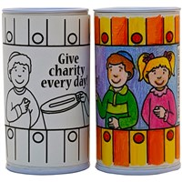 0990-DB- Color your own Charity Tzedakah Box, 2 x 4""
