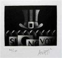 Mario Avati, French (1921 - 2009),  Mezzotint, Hat