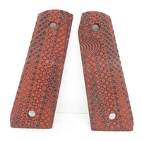"BullsEye G10 Grips Ruger 22/45 Mark 3 ""Golf Ball"" Pattern Red Black"