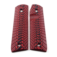 "BullsEye G10 Grips Ruger 22/45 Mark 3 ""Sunburst"" Pattern Red Black"