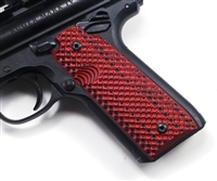 "BullsEye G10 Grips Ruger Mark 4 IV 22/45 ""Golf Ball"" Pattern Red Black"