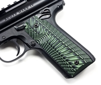 "BullsEye G10 Grips Ruger Mark 4 IV 22/45 ""Sunburst"" Pattern Green Black"