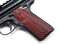 "BullsEye G10 Grips Ruger Mark 4 IV 22/45 ""Sunburst"" Pattern Red Black"