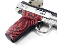 BullsEye G10 Grips S&W Victory SW22 LEFT Hand Thumbrest Red Black