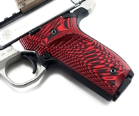 BullsEye G10 Grips S&W Victory SW22 RIGHT Hand Thumbrest Red Black