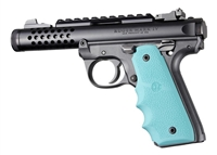 Ruger 22/45 Mark IV 4 Hogue Rubber Finger Groove Grip Aqua Blue 79084