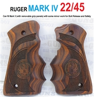 Ruger 22-45 MK-IV Wrap Around Laminated Wood Finger Groove Grips