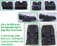 NEW VERSION Factory Ruger Adjustable Rear Sight Black Outline for Mark Series Pistols