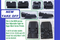 NEW VERSION TAKE OFF Factory Ruger Adjustable Rear Sight Black Outline for Mark Series Pistols