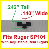Factory Ruger Sight Blade for SP101 with Adjustable Rear Sight
