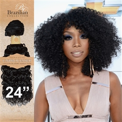 Unprocessed Virgin Brazilian Kinky Curl Human Hair Weft 24 Inches. 100g
