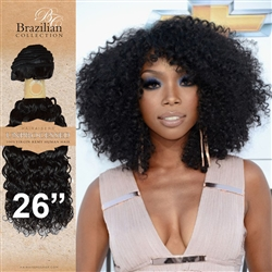 Unprocessed Virgin Brazilian Kinky Curl Human Hair Weft 26 Inches. 100g