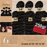 Virgin Brazilian Kinky Curl Human Hair Weft 250g Full Head