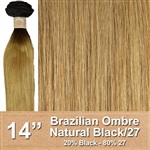 Brazilian Straight Ombre Human Hair Weft, Black/27 14 Inches 100g
