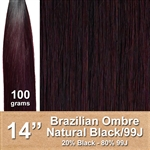 Brazilian Straight Ombre Human Hair Weft, Black/99J 14 Inches 100g
