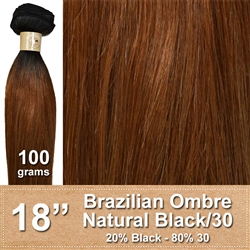 Brazilian Straight Ombre Human Hair Weft, Black/30 18 Inches 100g
