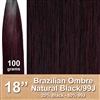 Brazilian Straight Ombre Human Hair Weft, Black/99J 18 Inches 100g