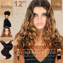 Unprocessed Virgin Brazilian Human Hair Weft 12 Inches. 100g