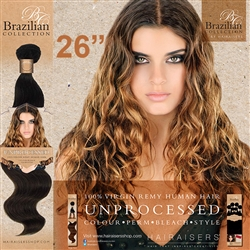 Unprocessed Virgin Brazilian Human Hair Weft 26 Inches. 100g