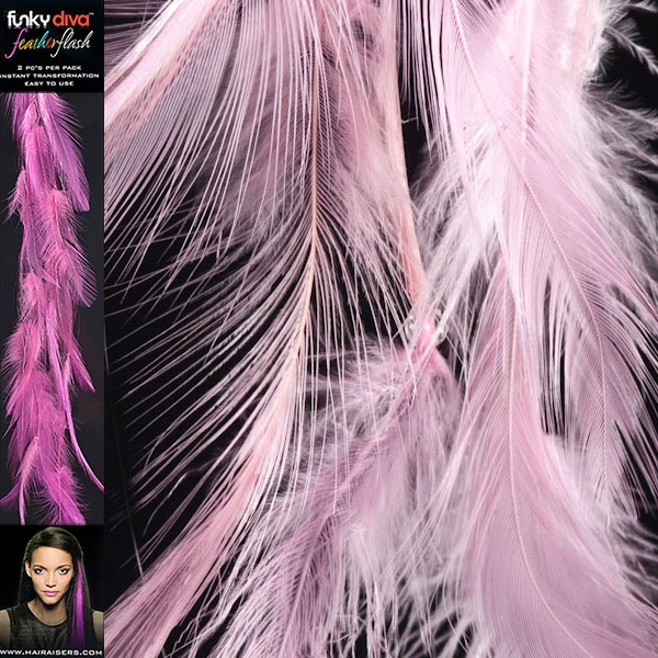 Feather Flash Clip In Hair Extensions Baby Pink