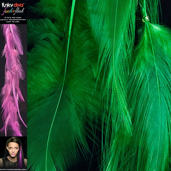 Feather Hair Extensions Emerald Green Feather Flash