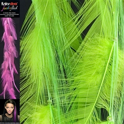 Feather Flash Clip In Hair Extensions Colour Lime Green
