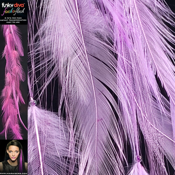 Feather Flash Clip In Hair Extensions Lilac