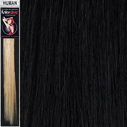 Colour Flash Clip In Human Hair Flashes 18 Inches Colour 1B
