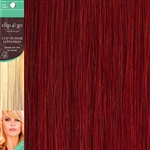 Clip and Go 1 High Heat Fiber Clip In Hair Extensions 18 Inches Blood Red