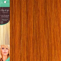 Clip and Go 1 High Heat Fiber Clip In Hair Extensions 18 Inches Burnt Orange