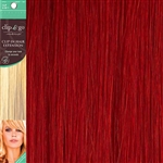 Clip and Go 1 High Heat Fiber Clip In Hair Extensions 18 Inches Red