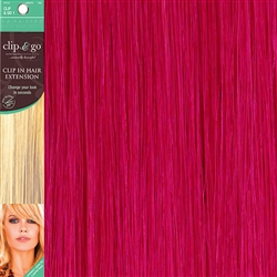 Clip and Go 1 High Heat Fiber Clip In Hair Extensions 18 Inches Shocking Pink