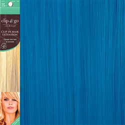 Clip and Go 1 High Heat Fiber Clip In Hair Extensions 18 Inches Turquoise