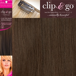 "Clip and Go 4 High Heat Fiber Clip In Hair Extensions 18"" Colour 4/6"