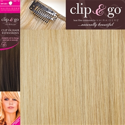 "Clip and Go 4 High Heat Fiber Clip In Hair Extensions 18"" Colour 913L"