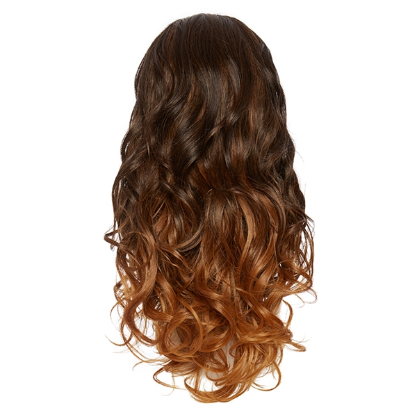 Ombre Three Quarter Hair Piece Curly Coffee Bean And Copper