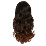 Balayage Ombre Three Quarter Hair Piece Curly Darkest Brown and Cinnamon