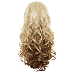 Balayage, Ombre Three Quarter Hair Piece Curly Platinum and Chestnut
