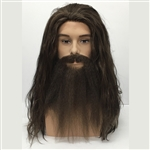 Male Hobo Style Long Wig, Beard and Moustache Set