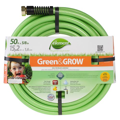 50-ft. 5/8-in. Element Green&GROW eco-friendly and lead-free garden water hose