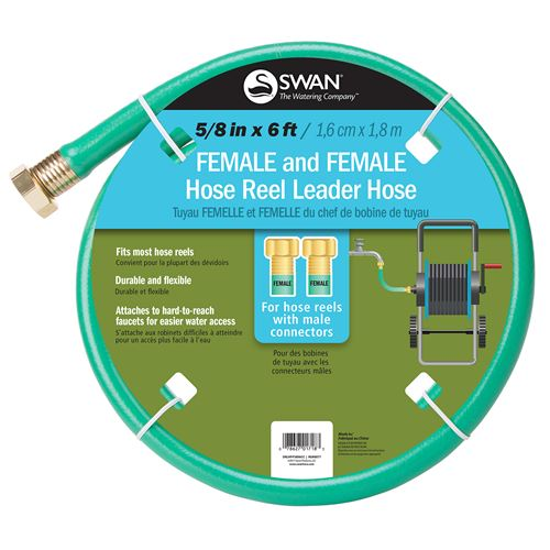 Swan Female and Female Hose Reel Leader Hose, 6 Feet