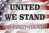 United We Stand American flag God Family Country aluminum sign custom made
