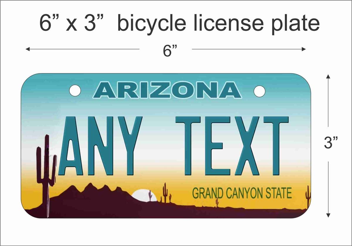 Arizona Personalized Plates >> Arizona state replica Mini License Plate for Bicycles, Bikes, Wheelchairs, Golf Carts ...