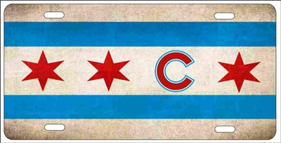 Chicago artistic flag Novelty Front License Plate Decorative Car Tag